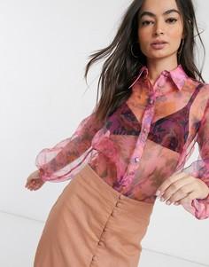 Розовая рубашка из органзы с цветочным принтом и объемными рукавами River Island-Розовый