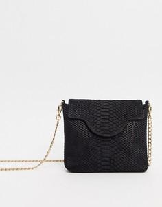 Кожаная сумка через плечо с ремешком-цепочкой Urbancode-Черный