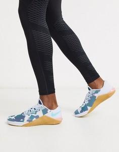 Серые кроссовки с камуфляжным принтом Nike Training Metcon 5-Серый