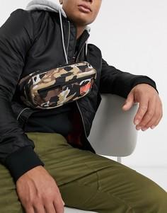 Сумка-кошелек на пояс с камуфляжным принтом и логотипом Puma-Зеленый