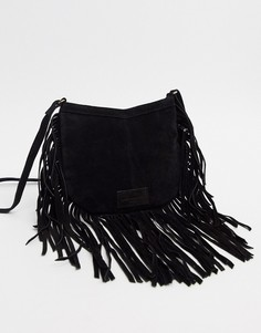 Замшевая сумка на плечо с бахромой Urbancode-Черный