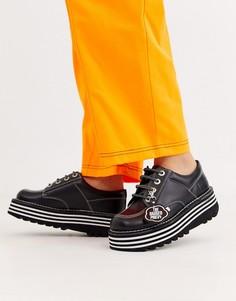 Черные кожаные ботинки на платформе Kickers x Ragged Priest-Черный