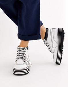 Белые кожаные ботинки на платформе Kickers x Ragged Priest-Белый