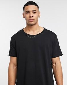 Черная свободная футболка с овальным вырезом и необработанным краем ASOS DESIGN-Черный