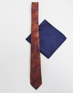 Узкий галстук и платок для нагрудного кармана с цветочным принтом ASOS DESIGN-Темно-синий