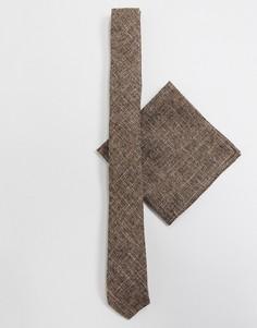 Коричневый фактурный узкий галстук и платок для нагрудного кармана ASOS DESIGN