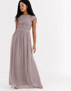 Платье макси с кружевной вставкой Little Mistress-Коричневый