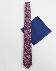 Узкий галстук и платок для нагрудного кармана с цветочным принтом ASOS DESIGN-Мульти