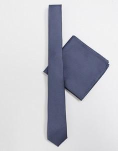 Темно-серый узкий галстук и платок для нагрудного кармана с узором в диагональный рубчик ASOS DESIGN