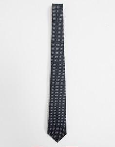Черный узкий галстук в горошек ASOS DESIGN