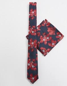 Черно-красный узкий галстук и платок для нагрудного кармана с цветочным принтом ASOS DESIGN-Черный