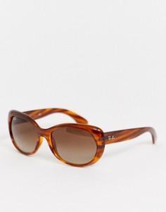 Черепаховые круглые солнцезащитные oversize-очки Ray-Ban 0RB4325-Коричневый