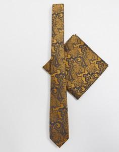 Узкий галстук и платок для нагрудного кармана горчичного цвета с узором пейсли ASOS DESIGN-Желтый