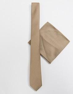 Светло-бежевый узкий галстук и платок для нагрудного кармана с узором в диагональный рубчик ASOS DESIGN