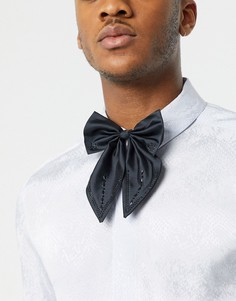 Черный атласный галстук-бабочка oversized со стразами ASOS DESIGN