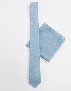 Голубой фактурный узкий галстук и платок для нагрудного кармана ASOS DESIGN-Синий