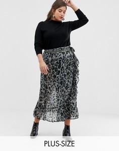 Юбка макси с запахом и леопардовым принтом Religion Plus-Серый