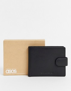 Кожаный бумажник с контрастной подкладкой ASOS DESIGN-Черный