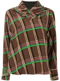 AKIRA NAKA блузка в клетку с драпировкой