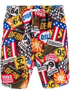 Dsquared2 плавки-шорты с графичным принтом