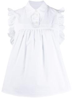 Mm6 Maison Margiela блузка без рукавов с оборками