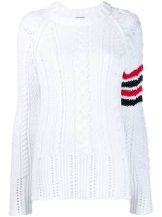 Thom Browne вязаный фактурный джемпер с полосками 4-Bar