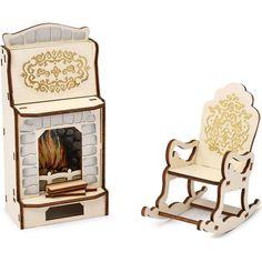 Мебель для кукол Одним прекрасным утром Барокко Камин и кресло-качалка
