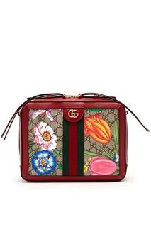 Коричневая сумка с монограммами Ophidia Gucci