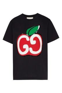 Черная футболка с яблоком Gucci