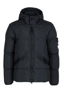 Черная куртка с нашивкой на рукаве Stone Island