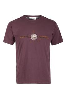 Бордовая футболка с принтом в виде компаса Stone Island
