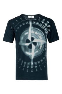 Черная футболка с крупным принтом Stone Island