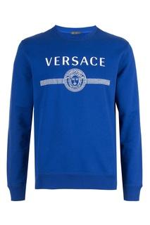 Синяя толстовка с фирменным принтом Versace