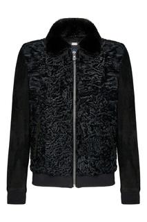 Черная замшевая куртка со вставкой из каракуля Billionaire
