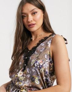 Пижама с цветочным принтом и кружевной отделкой Hope & Ivy-Серый