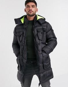 Длинная дутая куртка с яркой подкладкой на капюшоне Brave Soul-Черный