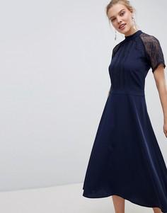 Приталенное платье миди с кружевной отделкой Liquorish-Темно-синий