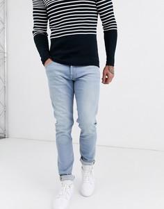 Голубые узкие джинсы с суженными книзу штанинами Lee LUKE-Синий