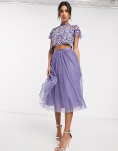 Фиолетовая юбка миди из тюля Needle & Thread-Синий