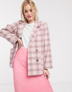 Розовый двубортный пиджак в клетку Monki