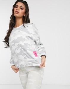 Свитшот с логотипом и камуфляжным принтом Calvin Klein Performance-Белый