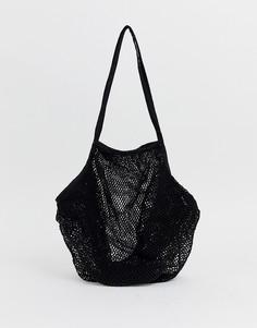 Пляжная сетчатая сумка-шоппер ASOS DESIGN-Синий