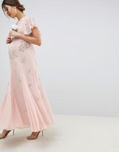 """Платье макси с декоративной отделкой и рукавами \""""ангел\"""" ASOS DESIGN Maternity-Розовый"""
