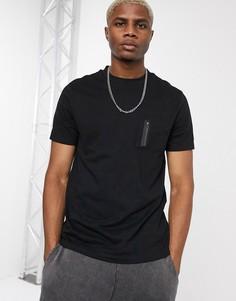Черная футболка из органического хлопка с карманом в стиле милитари ASOS DESIGN-Черный