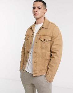 Бежевая джинсовая oversize-куртка в винтажном стиле Levis-Светло-коричневый