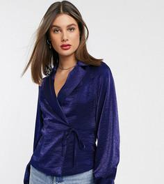 Атласная строгая блузка с завязкой спереди Glamorous Tall-Темно-синий