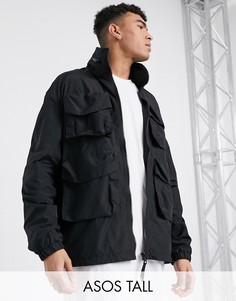 Черная куртка с высоким воротником ASOS DESIGN Tall-Черный