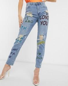 Рваные прямые джинсы с принтом граффити Femme Luxe-Синий