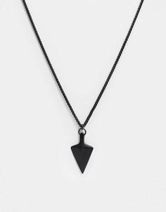 """Ожерелье с подвеской \""""наконечник стрелы\"""" черного цвета Seven London-Черный"""