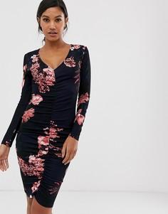 Платье с присборенной отделкой спереди, длинными рукавами и цветочным принтом темно-синего и розового цвета AX Paris-Темно-синий